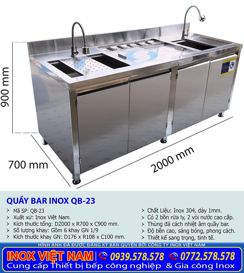 Kích thước quầy pha chế trà sữa inox dài 2m QB-23