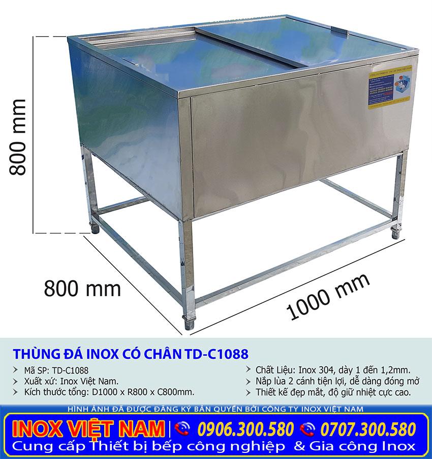 Kích thước thùng đá inox giữ nhiệt TD-C1088