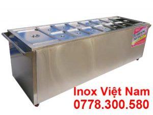 quầy bán cơm inox - bàn hâm nóng thức ăn 14 khay TH-14
