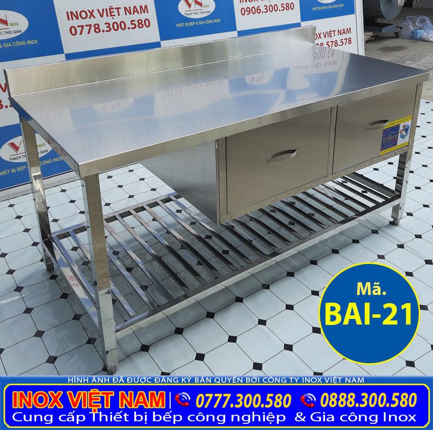 bàn bếp inox có hộc tủ BAI-21