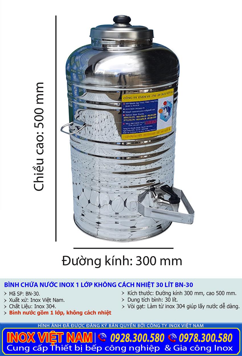 kích thước bình đựng nước đá inox