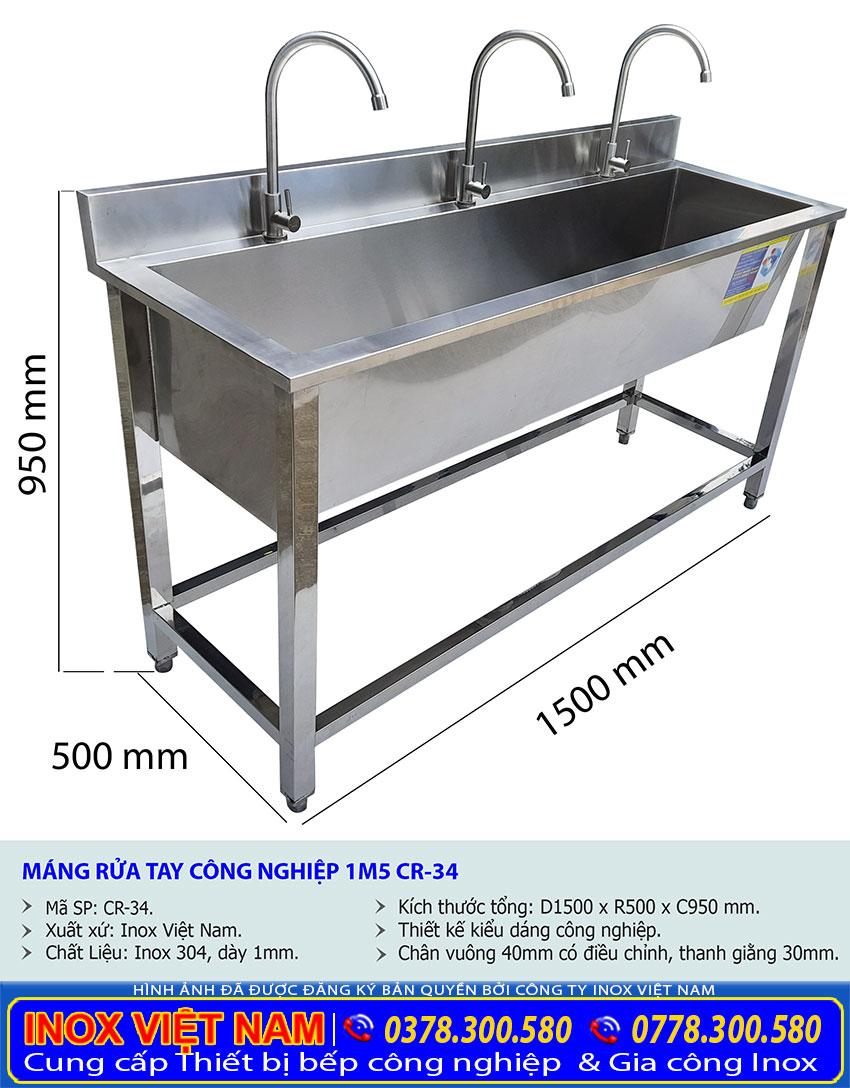 Kích thước máng rửa tay inox trường mầm non CR-34