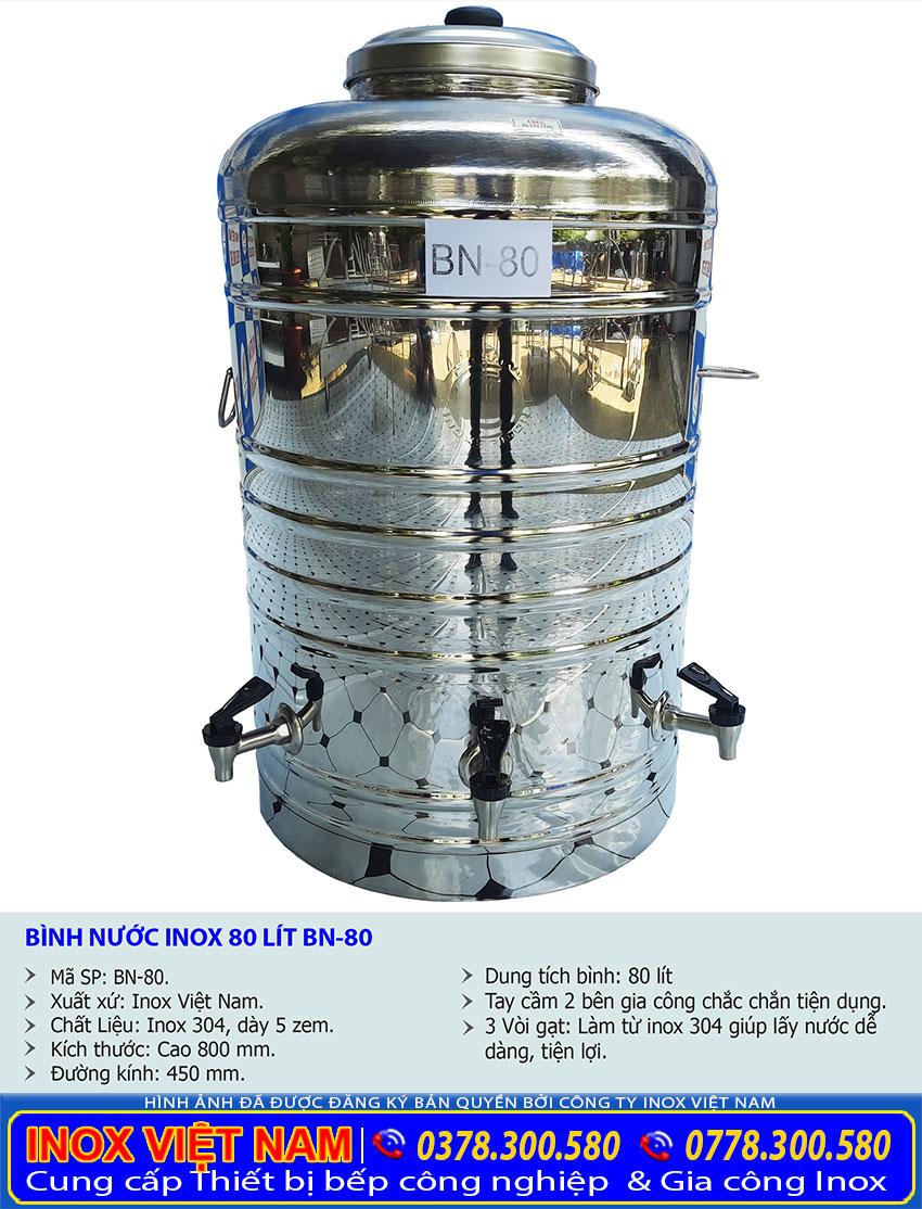 Thông số bình đựng nước đá inox có 3 vòi gạt