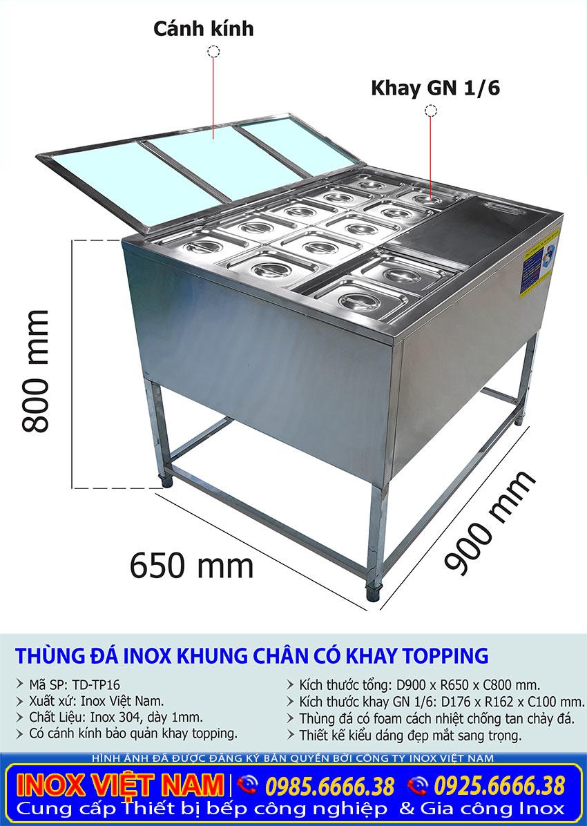 kích thước thùng đá inox có khay topping td-tp16