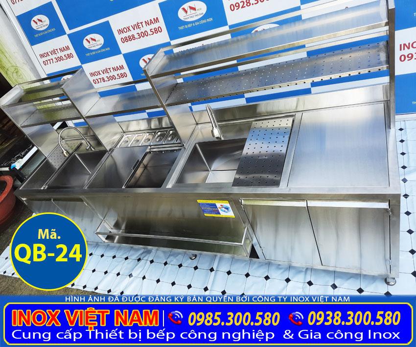 Quầy bar trà sữa inox 2m7 QB-24 giá bao nhiêu