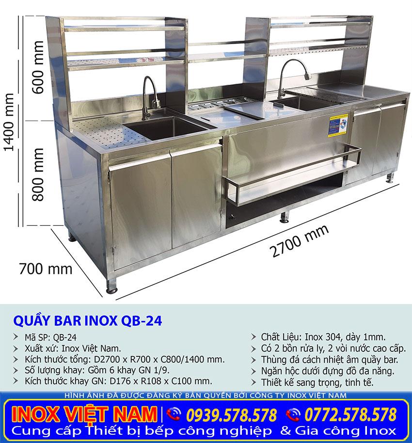 Thiết kế quầy pha chế trà sữa inox QB-24