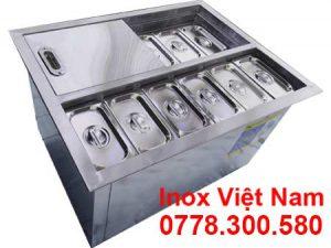 thùng đá âm bàn có khay topping inox 304