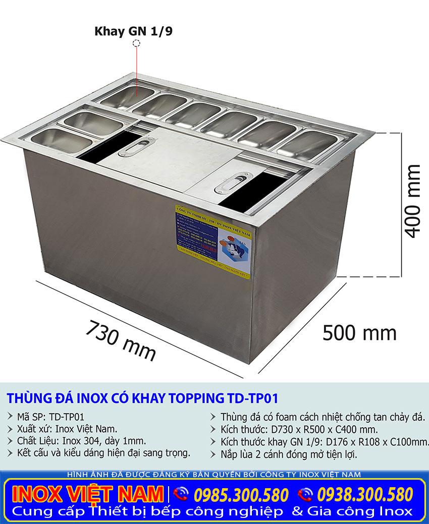 thùng đá inox âm bàn có khay TD-TP01