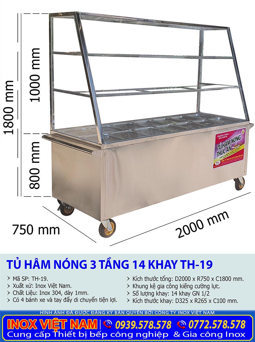 kích thước tủ giữ nóng thức ăn 12 khay 3 tầng