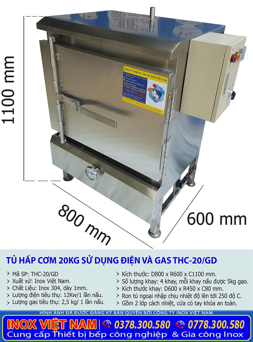 kích thước tủ cơm công nghiệp 20 kg bằng điện và gas