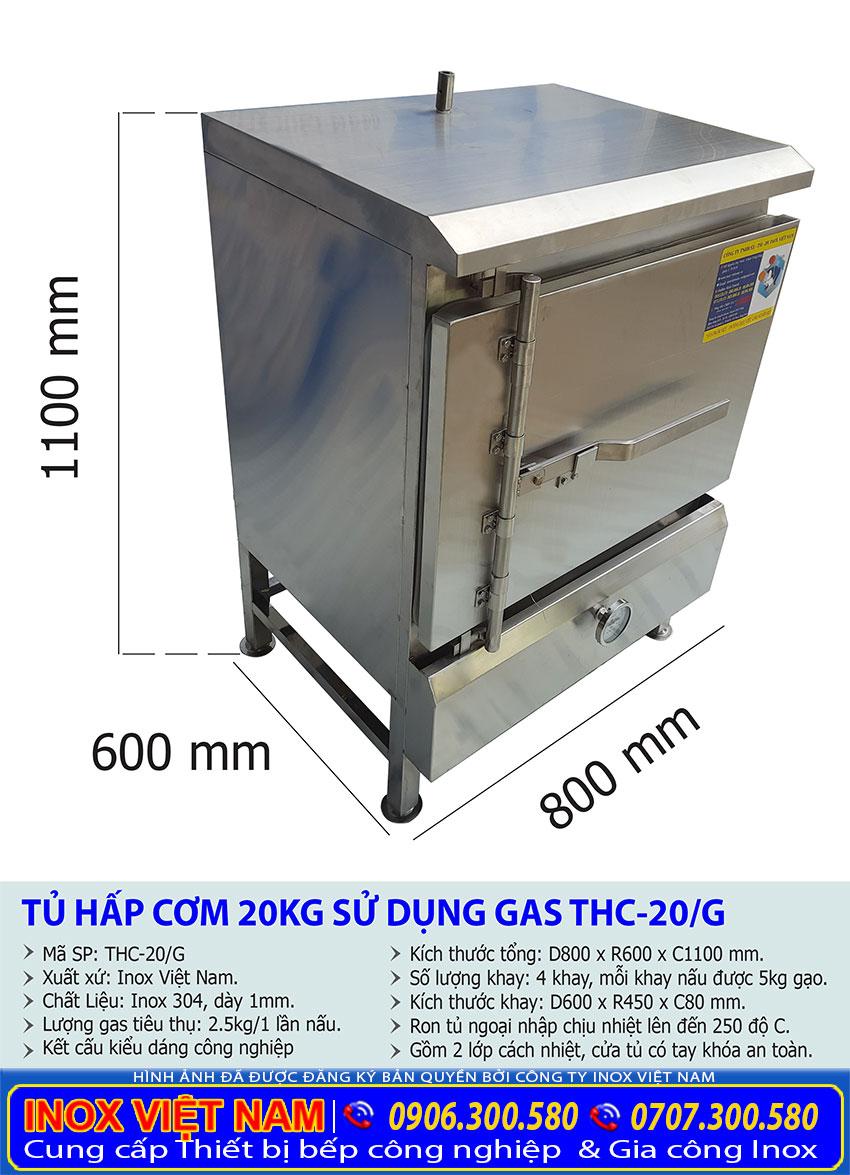 Kích thước tủ nấu cơm gas 20kg