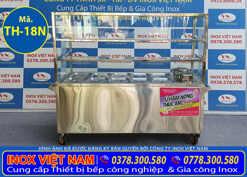 tủ hâm nóng trưng bày thức ăn 10 khay inox 304