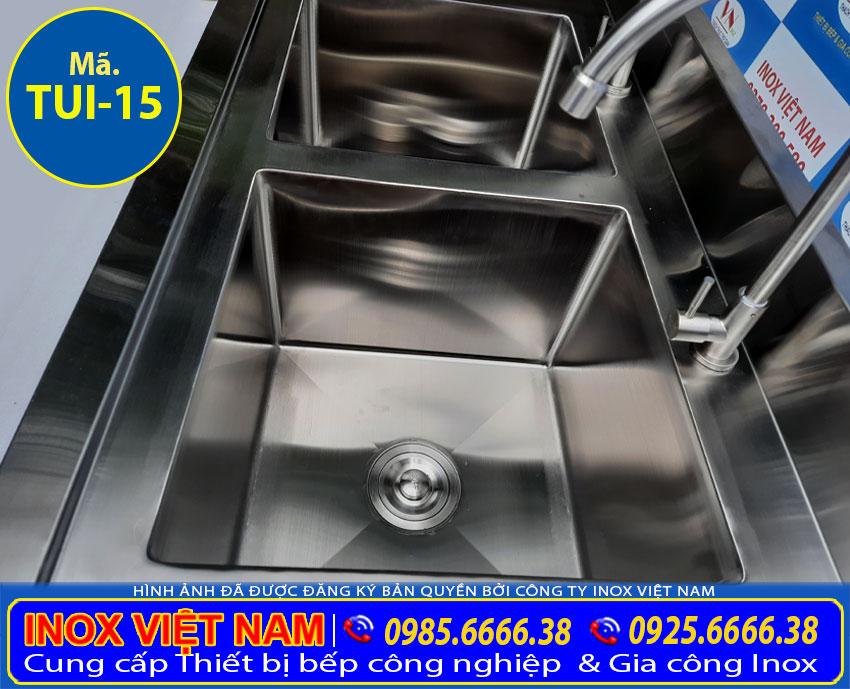 2 ngăn bồn rửa chén bát của tủ inox TUI-15