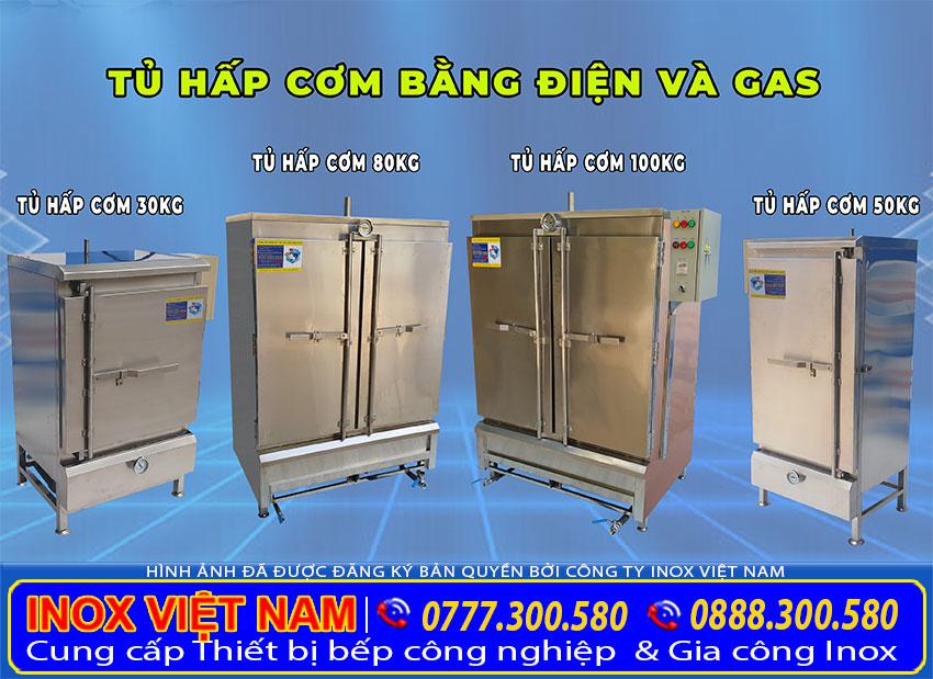 Bộ 4 sản phẩm tủ nấu cơm công nghiệp bằng điện và gas