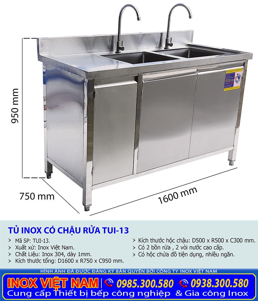 Kích thước tủ bồn rửa chén bát TUI-13