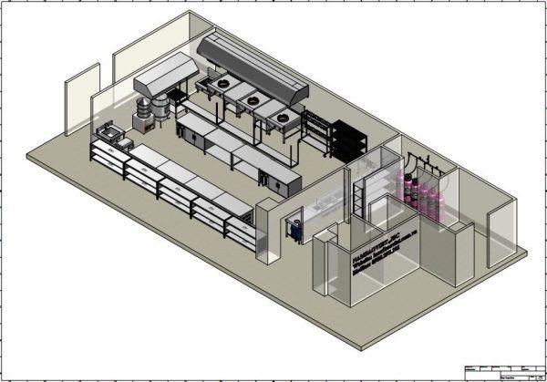 bản vẽ thiết kế bếp công nghiệp nhà hàng nguyên tắc 1 chiều