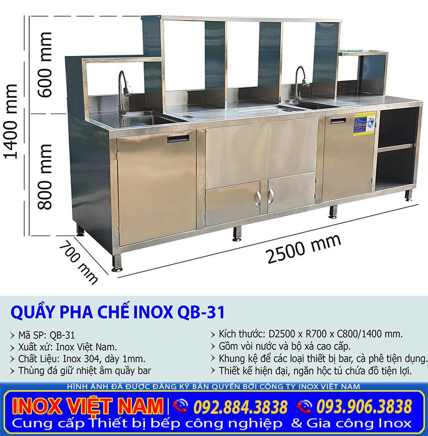 Kích thước quầy bar inox cafe QB-31