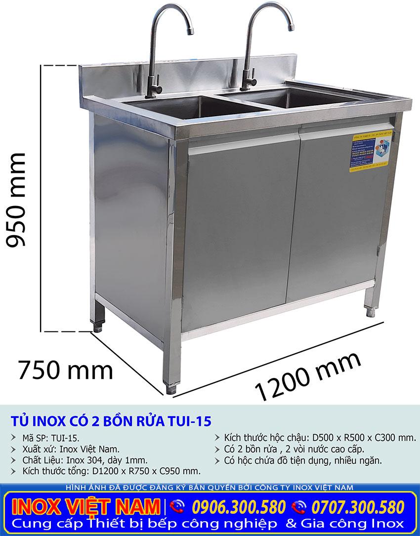 Kích thước tủ bồn rửa bát 2 hộc chậu TUI-15