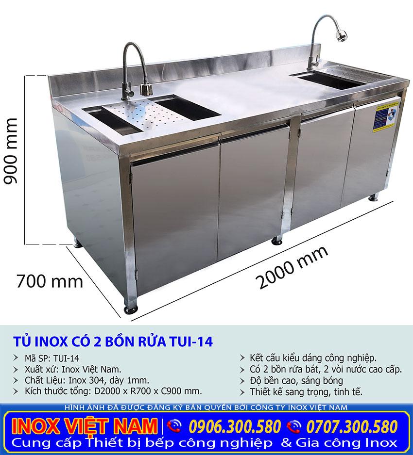 Kích thước Tủ bồn rửa chén bát TUI-14