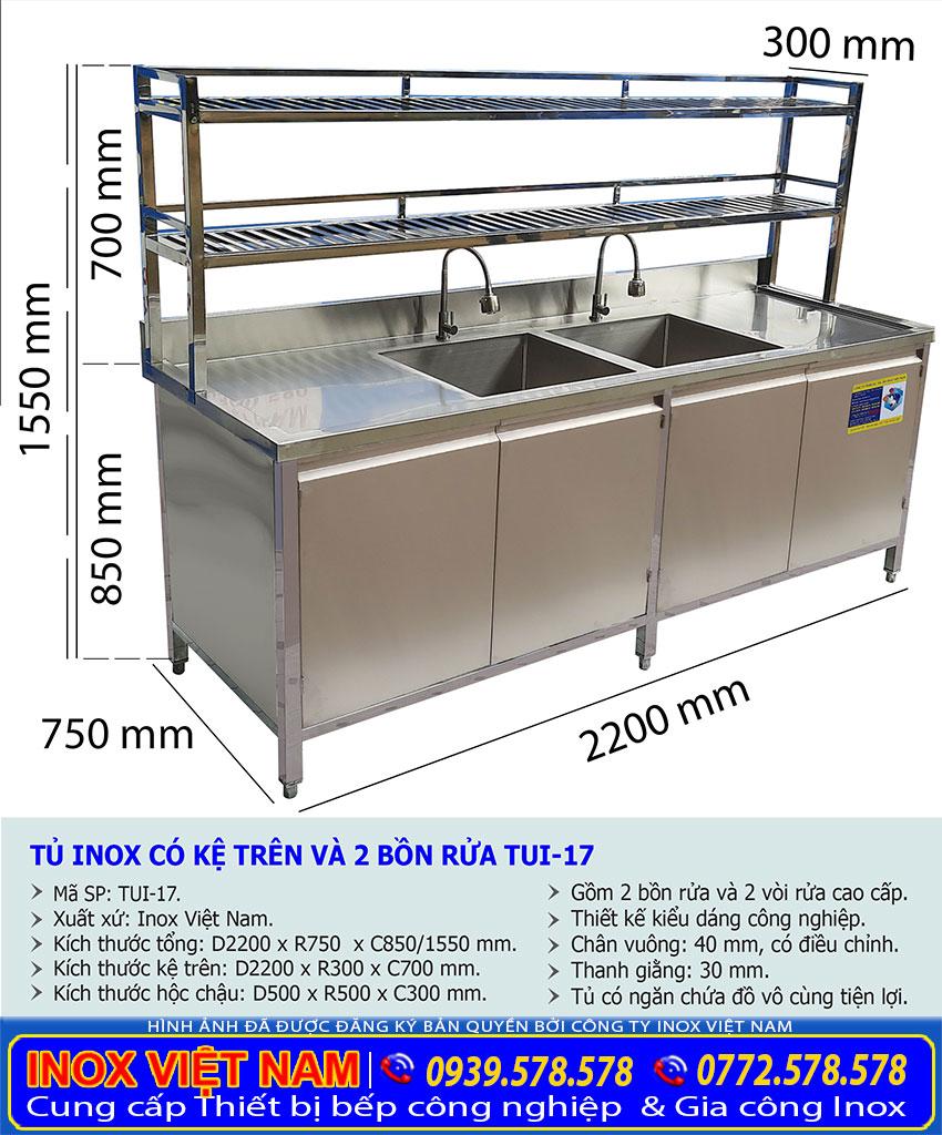 Kích thước tủ đựng chén bát bằng inox có 2 bồn rửa và kệ trên