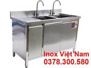 tủ inox có 2 bồn rửa chén bát TUI-13