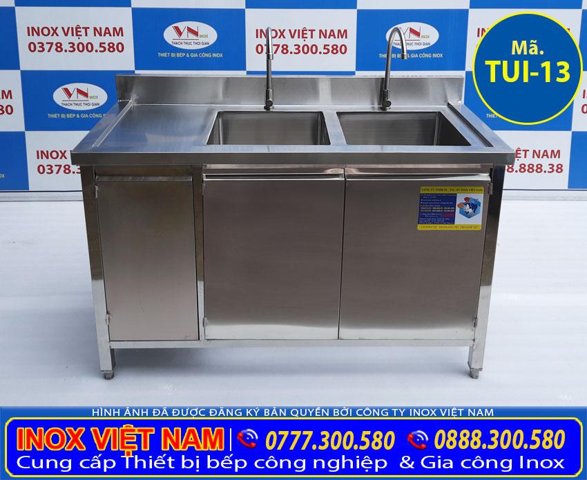tủ inox có 2 bồn rửa mã số TUI-13
