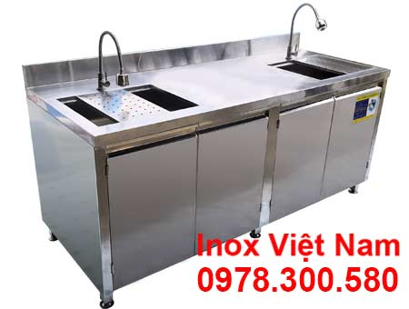 tủ inox có bồn rửa chén bát TUI-14
