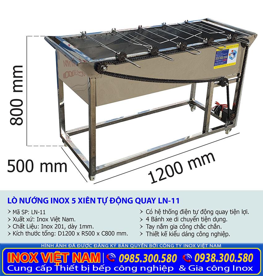 Kích thước bếp nướng than inox công nghiệp