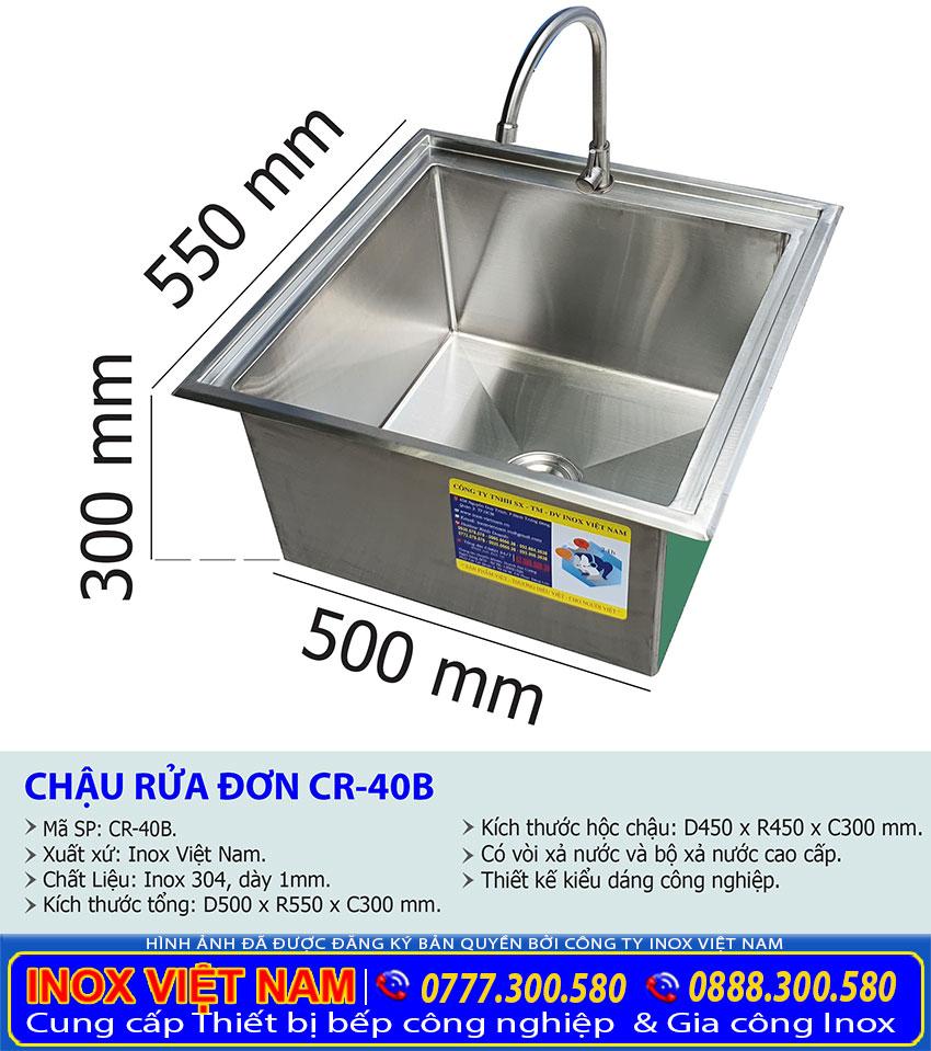 Kích thước chậu rửa đơn âm bàn CR-40B