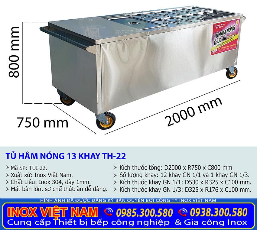 Kích thước tủ giữ nóng thức ăn 13 khay TH-22