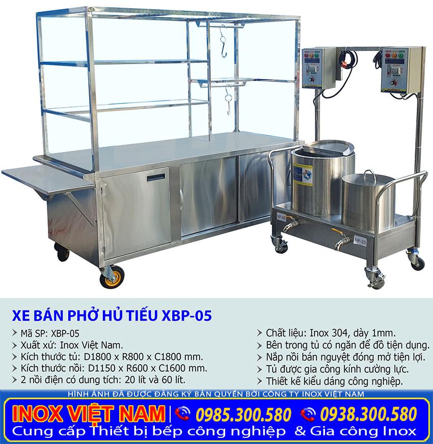 Kích thước Xe bán phở và bộ 2 nôi nấu nước lèo 20L-60L