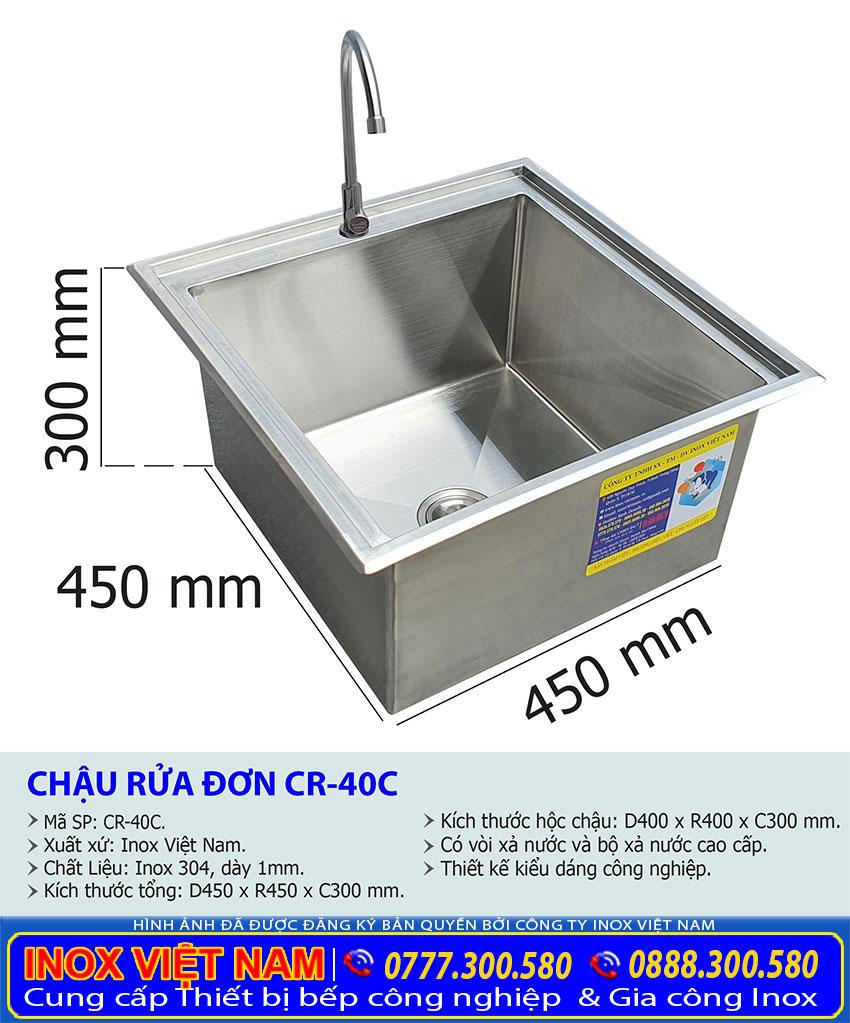 Kích thước chậu rửa đơn âm bàn CR-40C