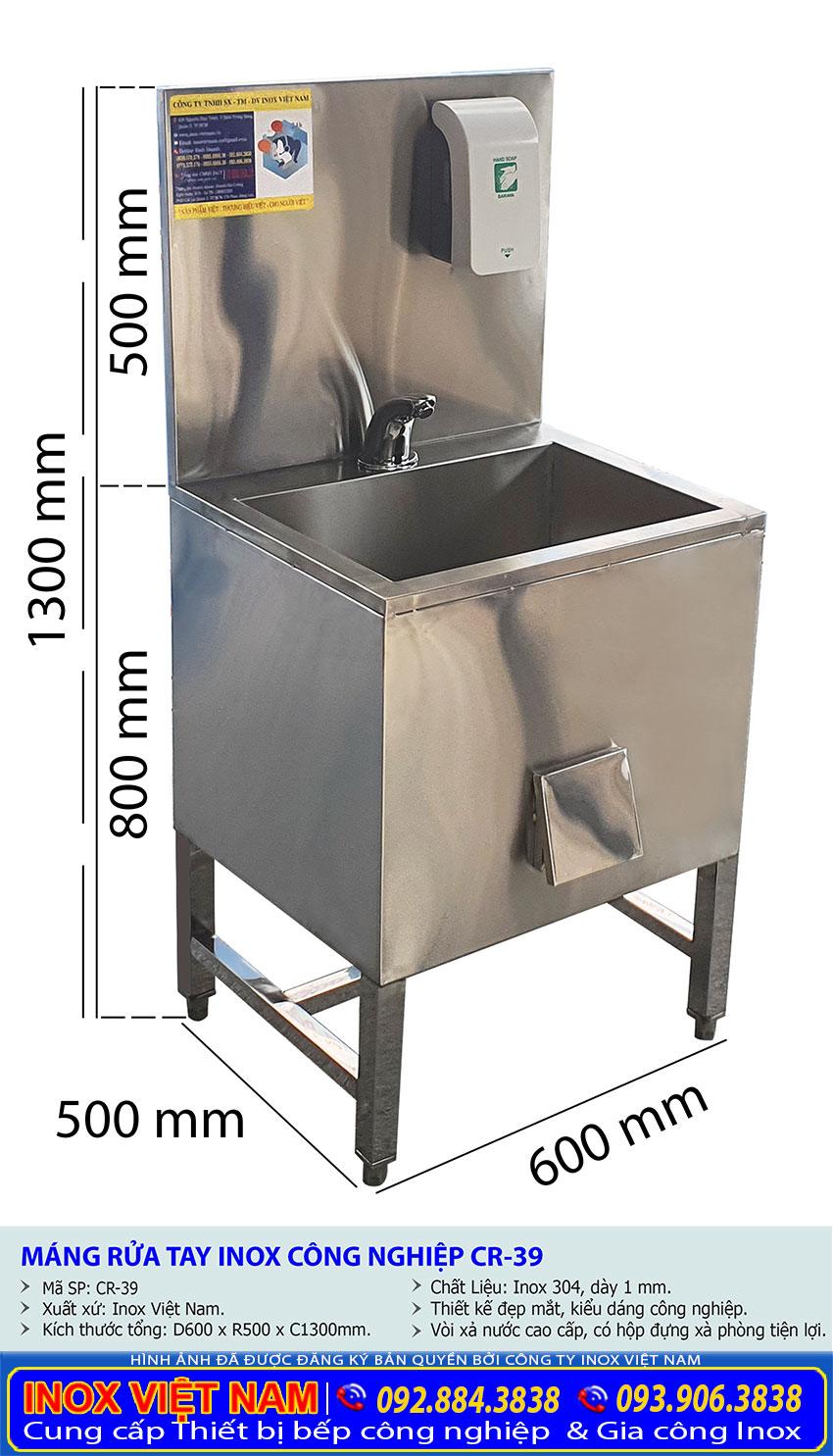 kích thước chậu rửa tay inox đơn CR-39