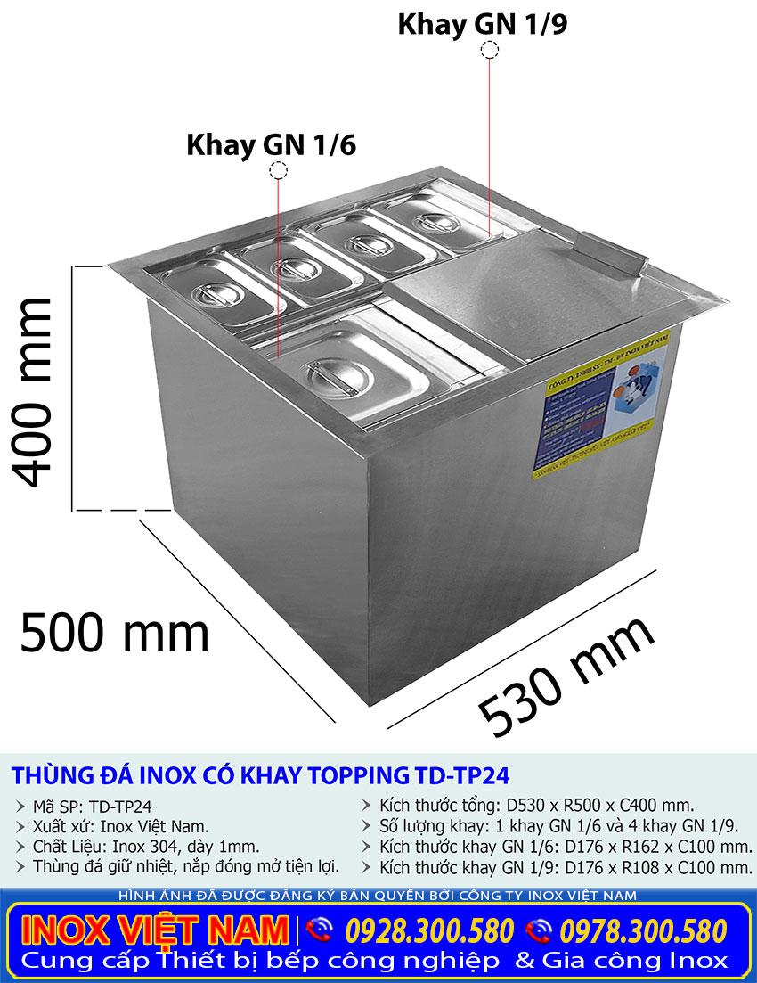 Giá thành của Thùng Đá Inox Âm Bàn Có 5 Khay Topping TD-TP24