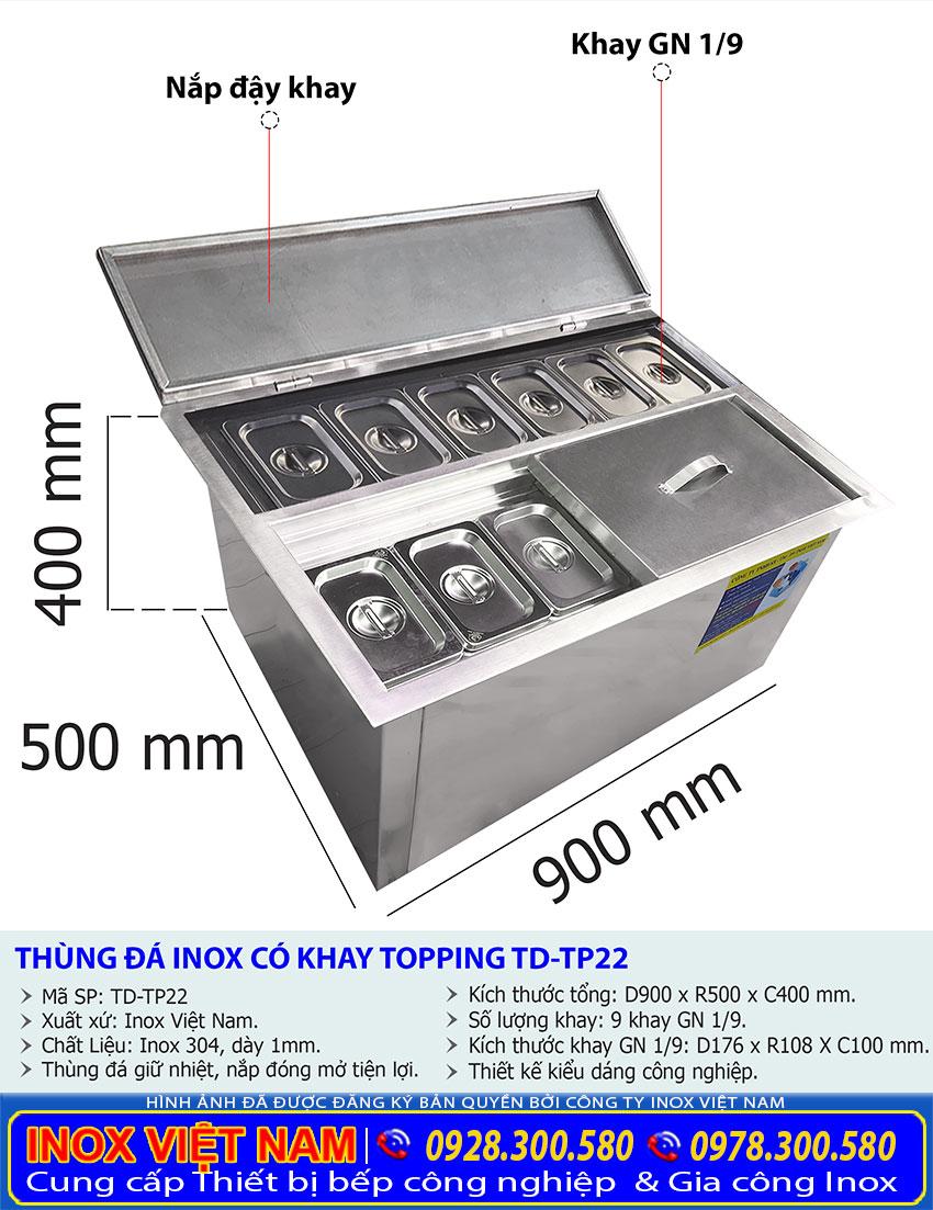 kích thước thùng đá inox âm bàn có 9 khay topping