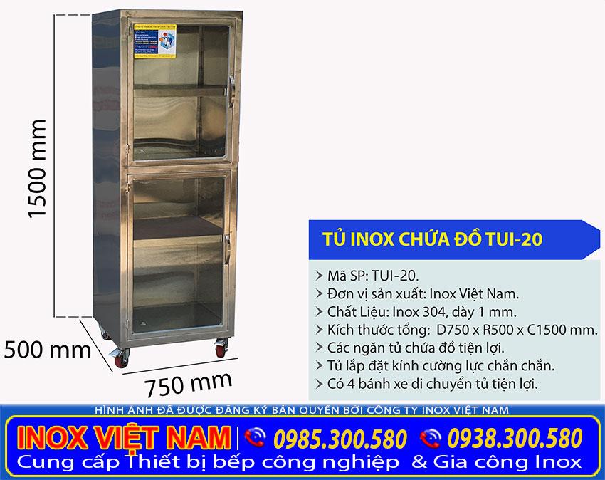Kích thước tủ inox chứa đồ TUI-20