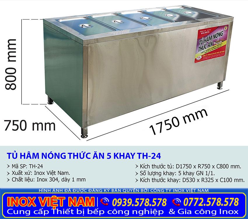 Kích thước tủ hâm nóng thức ăn TH-24