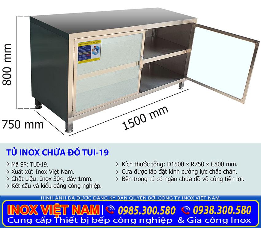 Kích thước tủ inox cửa kính 2 tầng TUI-19