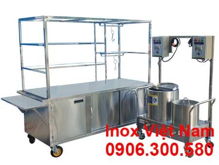 Trọn bộ xe bán phở và nồi nấu nước lèo 20L-60L XBP-05